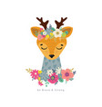 deer with flowers vector image vector image