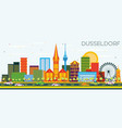 dusseldorf skyline with color buildings and blue vector image vector image