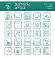 Electricity engineering flat line icons