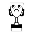 figure kawaii cute sad prize cup vector image vector image