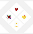flat icon love set of heart celebration emotion vector image vector image