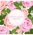 floral decoration with pink and beige roses wreath vector image vector image