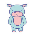 full color cute and happy hippopotamus wild animal vector image vector image