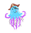 funny cartoon jellyfish pirate in a hat and eye vector image vector image