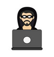 hacker with laptop vector image vector image