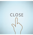 Hand clicking close symbol icon Concept EPS10 vector image