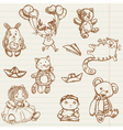 hand drawn toys vector image vector image