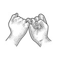 hands held little fingers sketch vector image