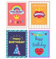 happy birthday princess poster vector image vector image
