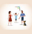 happy boy spending time with parents vector image vector image