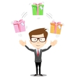Happy man juggling gift box with bow vector image