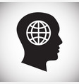 human head with globe icon on white background for vector image