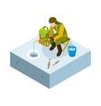 ice fishing isometric man on fishing vector image vector image