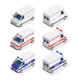 Isometric Vans Set with Ambulance and Police Car