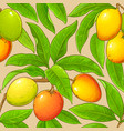 mango branches pattern on color background vector image vector image
