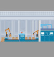 manufacturing warehouse conveyor with workers 40 vector image