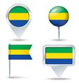 Map pins with flag of Gabon vector image vector image