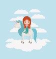 mermaid with unicorn in the clouds vector image
