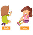 opposite preposition words with back and front vector image vector image