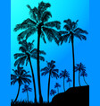 Palm trees forest over blue background