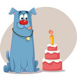 party dog with birthday red velvet cake cartoon vector image