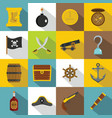 pirate icons set flat style vector image vector image