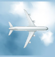 realistic airplane on cloudy sky background vector image