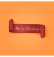 Realistic curved red Ribbon Merry Christmas vector image vector image