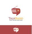 retro radio shaped talk bubble logo vector image