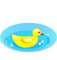 rubber duck in blue water vector image