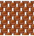seamless pattern with chocolate macaroon on white vector image vector image