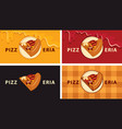 set business cards with a slice pizza vector image