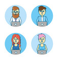set businesspeople with laptop and hairstyle vector image
