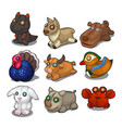 set of soft toys from different birds and animals vector image vector image