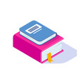 stack isometric book with shadow isolated vector image