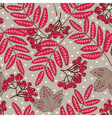 Stock seamless pattern with red leaves and berries vector image vector image