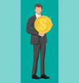 successful businessman holding big dollar coin vector image