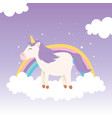unicorn on cloud with rainbow decoration magical vector image vector image