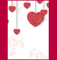 valentines day background with red and rose hearts vector image vector image