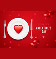 valentines day set with red heart on plate and vector image vector image