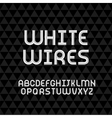Wired wavy cable white contour alphabet vector image