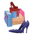 with shoe boxes and pairs of high-heel shoes vector image vector image
