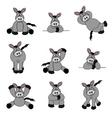 cute donkey set vector image