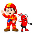 rescue firefighter man holds iron axe vector image