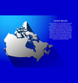 abstract map of canada with long shadow on blue vector image vector image