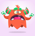 angry cartoon monster pink and horned vector image vector image