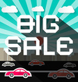 Big Sale Slogan on City with Road and Cars vector image vector image