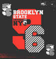 brooklyn state university nyc print for t-shirt vector image