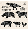 Butchery shop animal set vector image vector image
