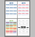 calendar 2019 colorful set week starts on vector image